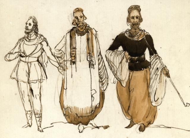 Machereau, Joseph: Trois hommes de face, en costume de saint-simonien